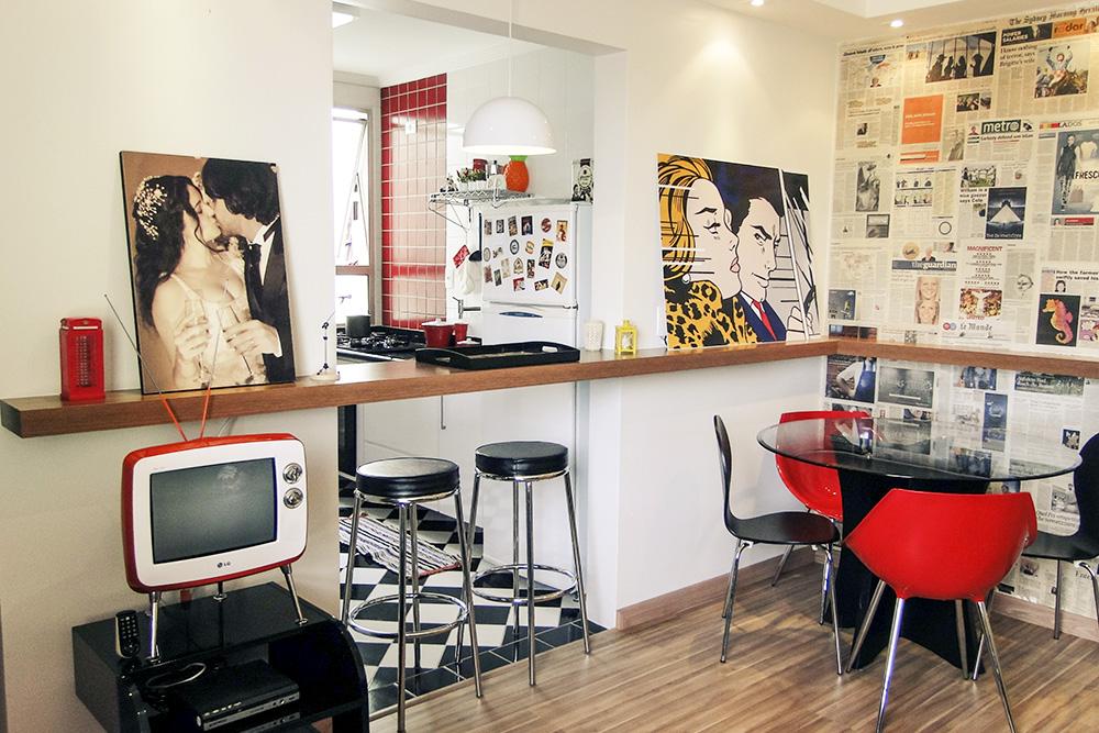 decoracao de sala retro:Parede Cozinha Aberta