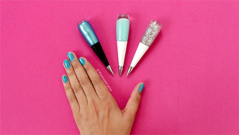 kit-de-material-escolar-caneta-esmalte-divertido